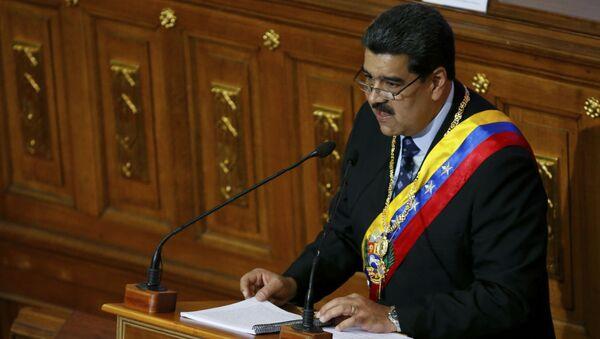 Президент Венесуэлы Николас Мадуро выступает с ежегодным обращением к нации перед членами Конституционного собрания в Национальном собрании в Каракасе, Венесуэла - Sputnik Azərbaycan