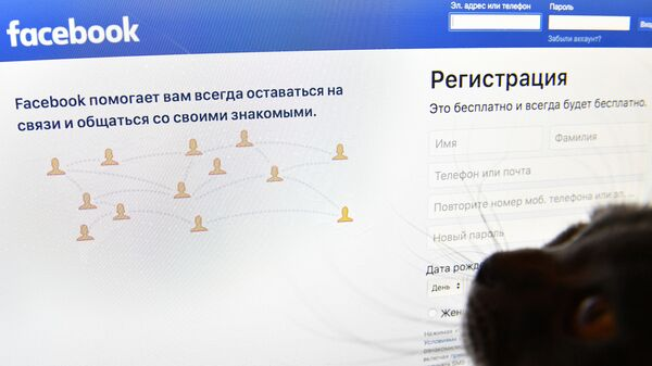 Страница социальной сети Фейсбук на экране компьютера - Sputnik Азербайджан