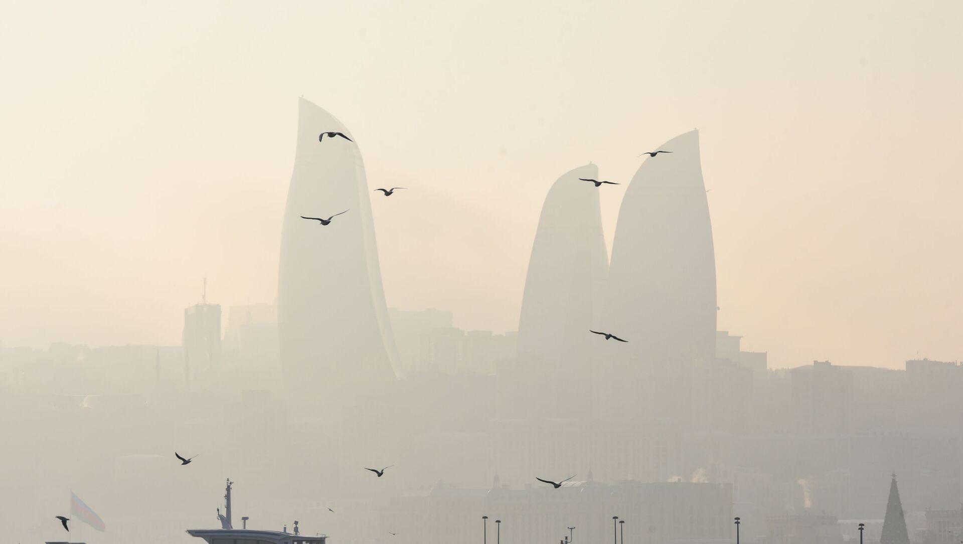 Вид на комплекс Flame Towers в Баку - Sputnik Азербайджан, 1920, 01.09.2021