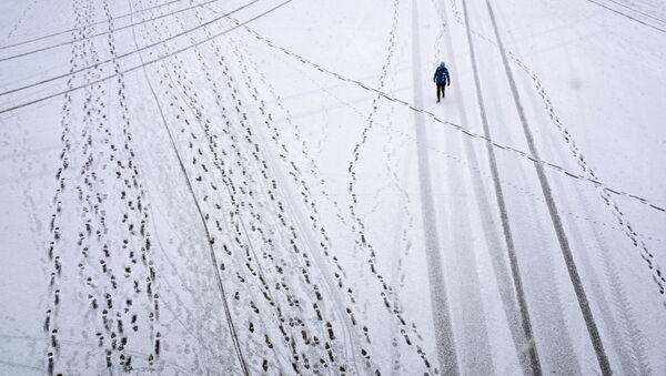 Прохожий во время снегопада в Парке Горького в Москве - Sputnik Азербайджан