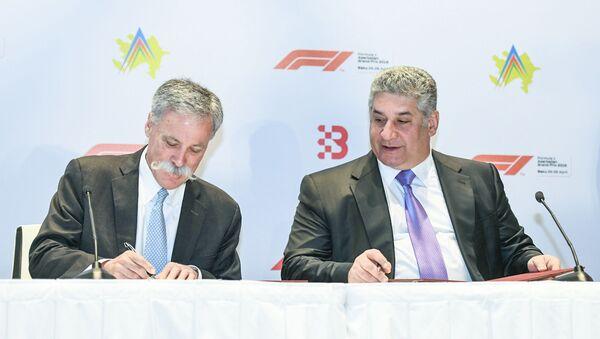 Между Бакинским городским кольцом и группой компаний Формула 1 подписан новый договор о продлении срока проведения Гран-при Азербайджана - Sputnik Azərbaycan