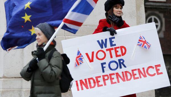 Активист, выступающий за Брексит, держит плакат с надписью Мы проголосовали за независимость, когда противобрексистский активист разворачивает флаги Европейского Союза и Британии во время демонстрации у здания Парламента в центральном Лондоне - Sputnik Азербайджан