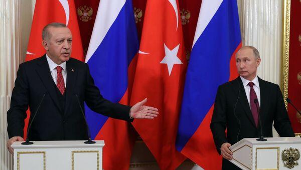Türkiyə prezidenti Rəcəb Tayyib Ərdoğan və Rusiya prezidenti Vladimir Putin - Sputnik Azərbaycan
