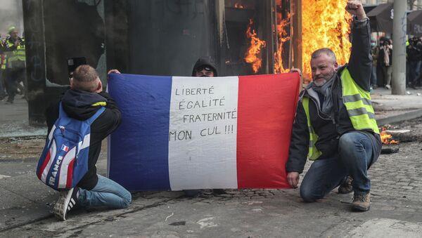 Протестующие в Желтом жилете держат французский флаг с надписью Свобода, Равенство, Братство, моя Задница! - Sputnik Азербайджан