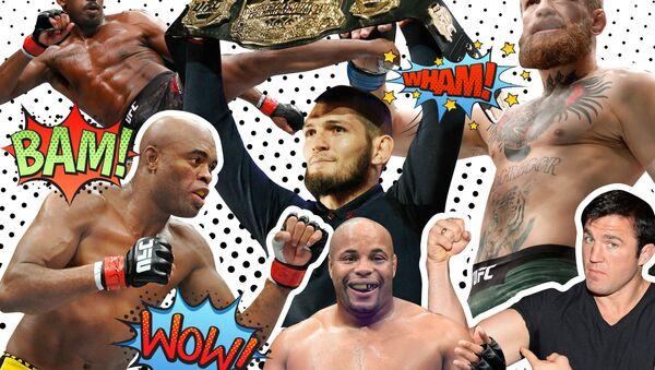 Борцы UFC (слева направо) Джон Джонс, Андерсон Сильва, Хабиб Нурмагомедов, Конор Макгрегор, Даниель Кормье, Чейл Соннен - Sputnik Азербайджан