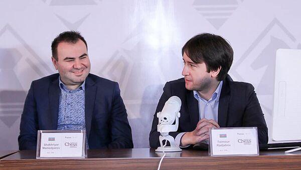 Шахрияр Мамедъяров и Теймур Раджабов в ходе пресс-конференции - Sputnik Азербайджан