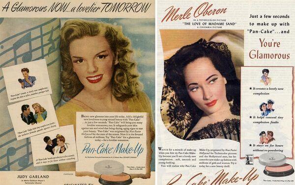 Первая реклама косметики Max Factor с участием голливудских актрис Джуди Гарленд и Мерл Оберон - Sputnik Азербайджан