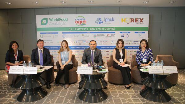 Пресс-конференции, посвященной открытию 15-17 мая выставок WorldFood Azerbaijan, Caspian Agro, IpackCaspian и HOREX Caucasus - Sputnik Азербайджан