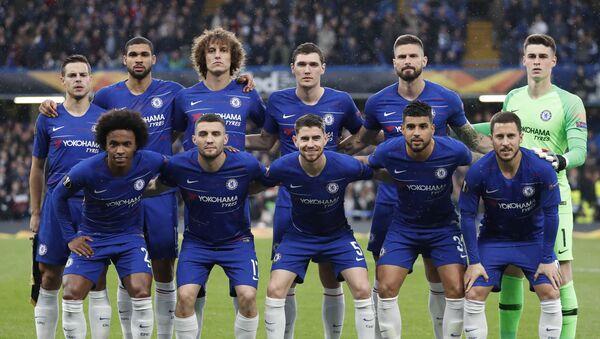 Игроки Челси перед вторым полуфинальным матчем Лиги Европы между с Айнтрахтом на стадионе Стэмфорд Бридж в Лондоне - Sputnik Азербайджан