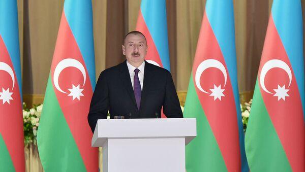 İlham Əliyev 28 May – Respublika Günü münasibətilə keçirilən rəsmi qəbulda iştirak edib - Sputnik Азербайджан