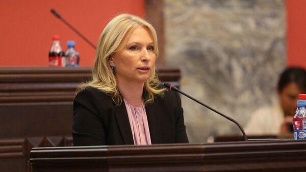 Министр экономики и устойчивого развития Натия Турнава в парламенте - Sputnik Azərbaycan