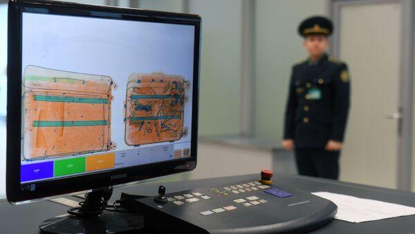 Монитор багажного сканера (интроскоп) в зоне таможенного контроля - Sputnik Азербайджан