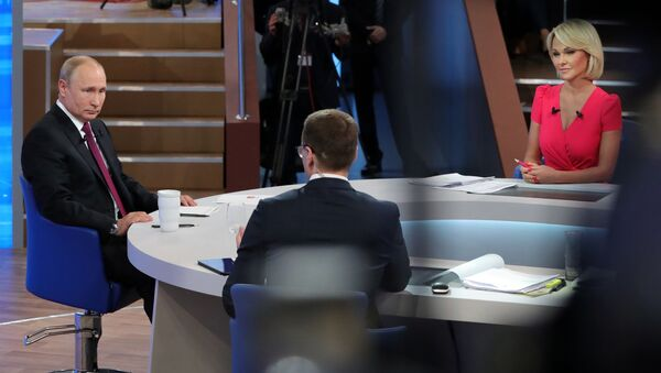 Прямая линия с президентом РФ Владимиром Путиным - Sputnik Azərbaycan