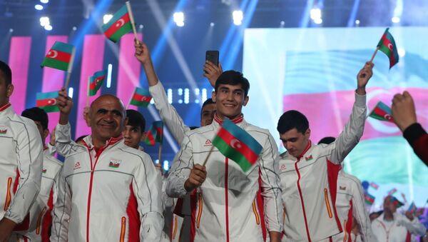 XV Avropa Gənclər Yay Olimpiya Festivalının təntənəli açılış mərasimi - Sputnik Азербайджан