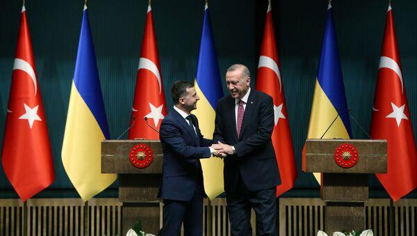 Президент Турции Реджеп Тайип Эрдоган и президент Украины Владимир Зеленский - Sputnik Azərbaycan