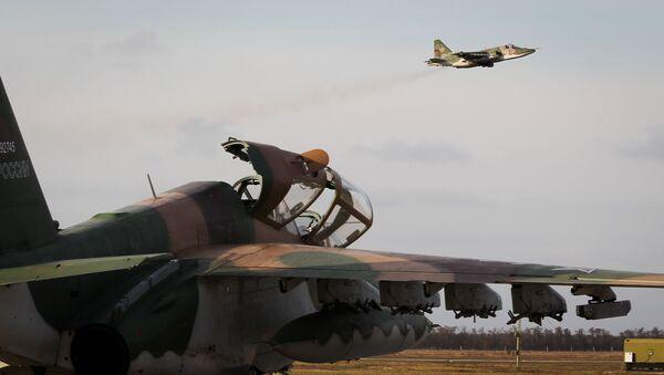 Штурмовик Су-25УБ, фото из архива - Sputnik Азербайджан