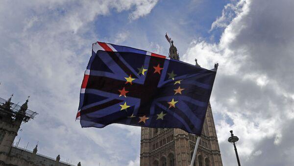 Протестующий против ЕС развевает флаги напротив здания парламента в Лондоне - Sputnik Азербайджан