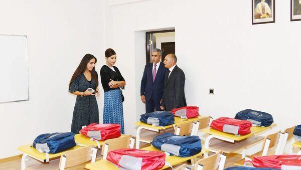 Мехрибан Алиева приняла участие в открытии Меликчобанлинской сельской полной средней школы имени Гюлаги Агаева в Шамахинском районе - Sputnik Azərbaycan