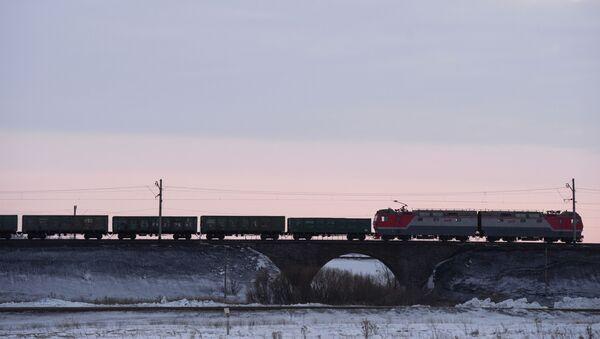 Грузовой поезд на Транссибирской железнодорожной магистрали вблизи Новосибирска, фото из архива - Sputnik Азербайджан