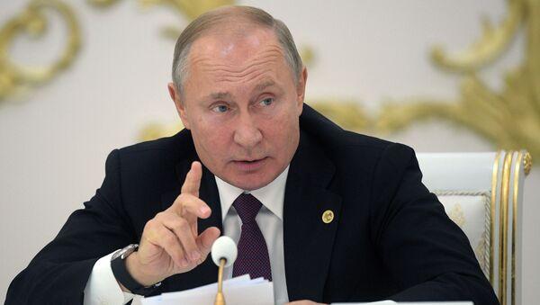 Президент РФ Владимир Путин на заседании Совета глав государств Содружества Независимых Государств (СНГ) - Sputnik Азербайджан