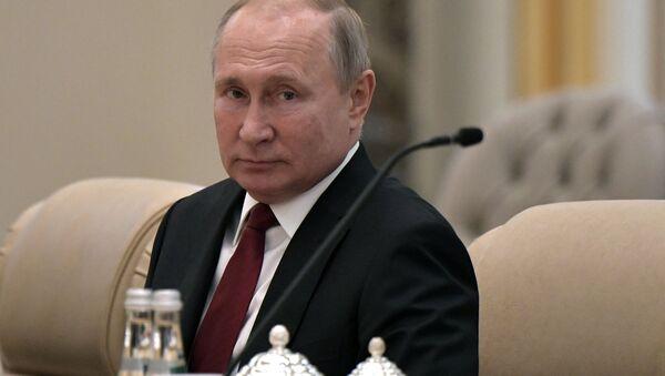 Президент РФ Владимир Путин на российско-эмиратских переговорах - Sputnik Azərbaycan