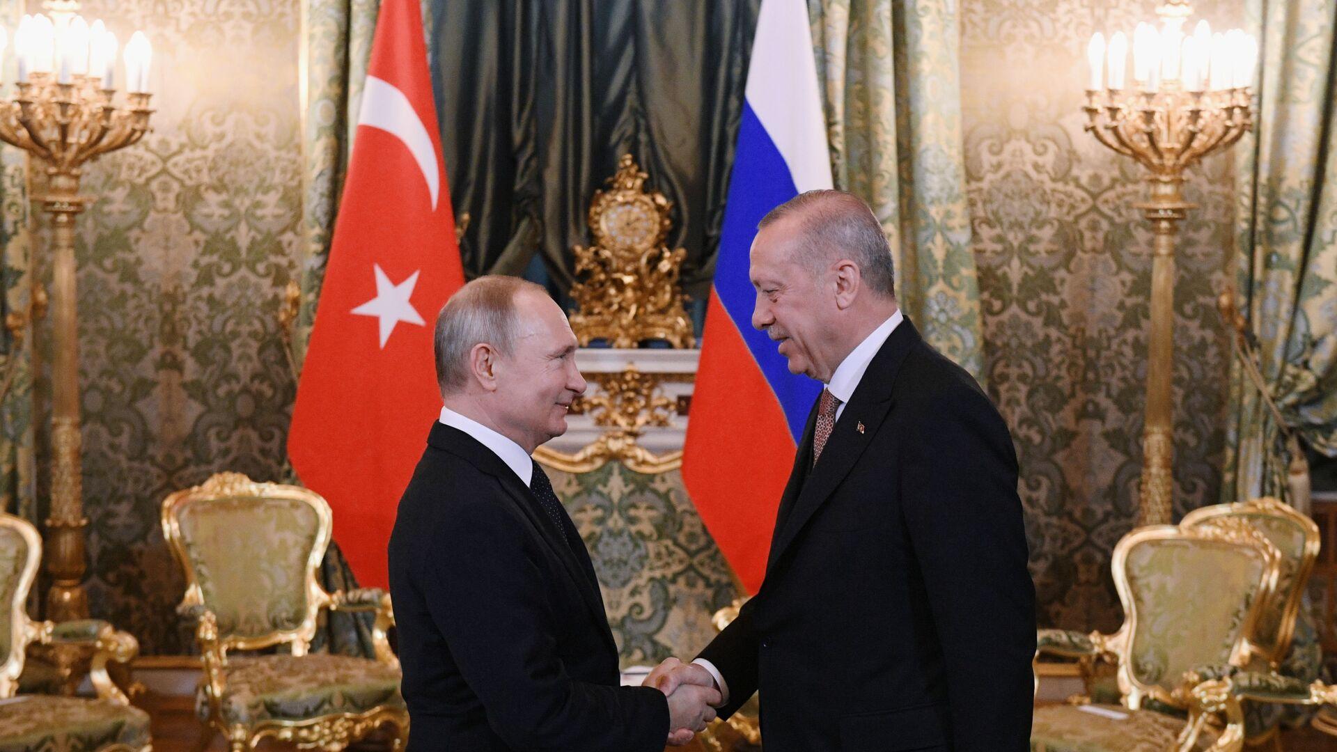 Rusiya və Türkiyə Prezidentləri Vladimir Putin və Rəcəb Tayyib Ərdoğan - Sputnik Azərbaycan, 1920, 29.09.2021