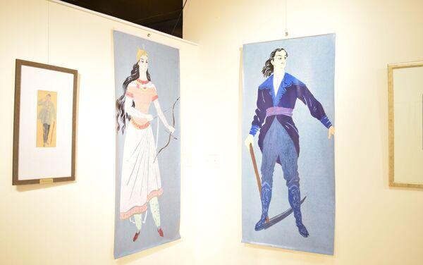 В Азербайджанском национальном музее ковра состоялось открытие выставки, посвященной одной из первых азербайджанских женщин-театральных художниц Бадуре Афганлы  - Sputnik Азербайджан