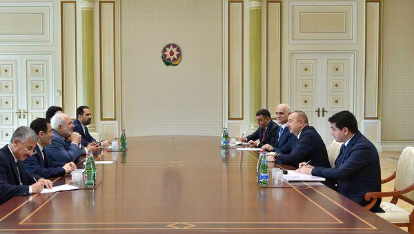 Президент Азербайджана Ильхам Алиев принял делегацию во главе с министром иностранных дел Ирана Мохаммадом Джавадом Зарифом - Sputnik Азербайджан