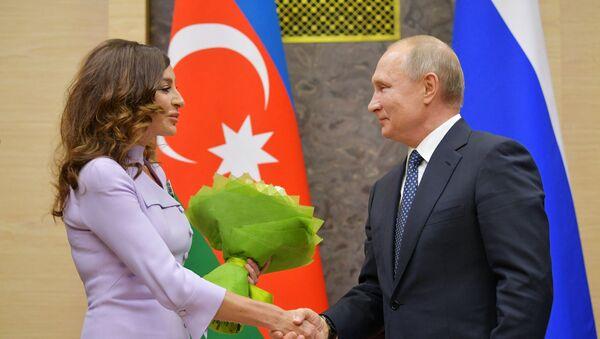 Rusiya Prezidenti Vladimir Putin və Azərbaycanın Birinci vitse-prezidenti Mehriban Əliyeva görüş zamanı - Sputnik Азербайджан