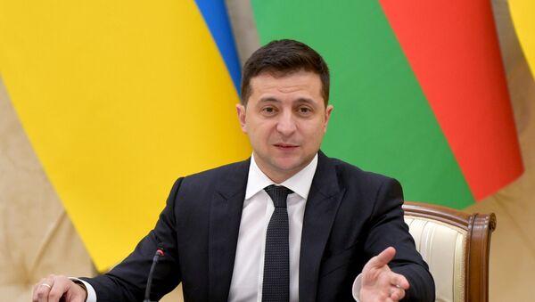 Президент Азербайджана Ильхам Алиев и Президент Украины Владимир Зеленский выступили с заявлениями для печати - Sputnik Азербайджан