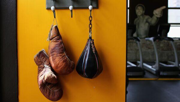 Комплект боксерских перчаток висит на стене в боксерском ринге - Sputnik Азербайджан