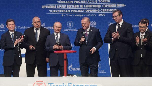 Президент России Владимир Путин и президент Турции Реджеп Тайип Эрдоган на церемонии официального открытия газопровода Турецкий поток - Sputnik Azərbaycan