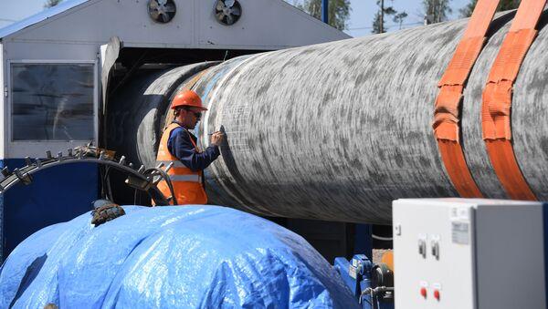 Рабочий на участке строительства газопровода Северный поток-2 в Ленинградской области - Sputnik Азербайджан