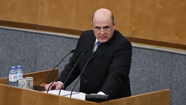 Кандидат на пост премьер-министра РФ Михаил Мишустин выступает на пленарном заседании Государственной Думы РФ - Sputnik Азербайджан