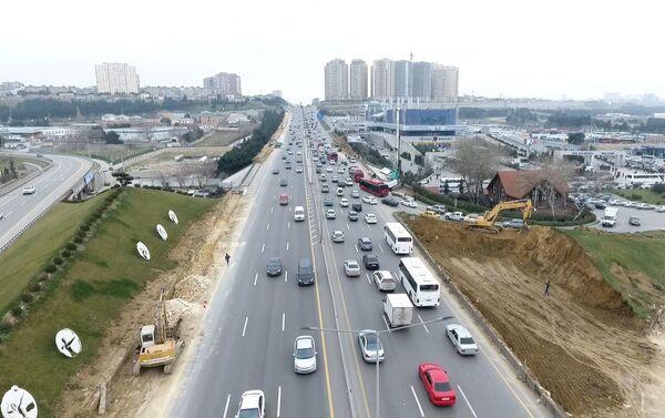 Работы по расширению автодороги Баку-Сумгайыт - Sputnik Азербайджан