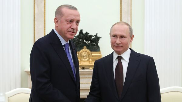 Президент РФ Владимир Путин и президент Турции Реджеп Тайип Эрдоган (слева) во время встречи - Sputnik Азербайджан