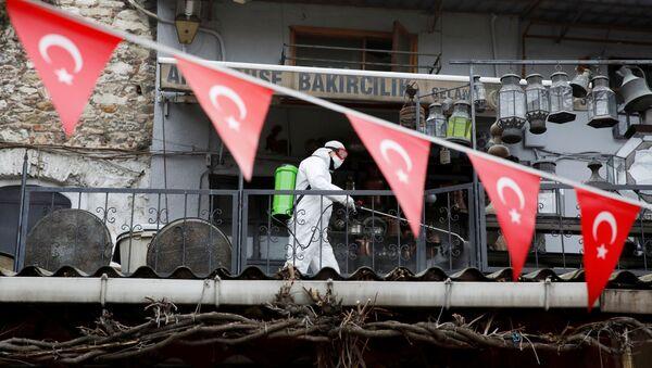 Рабочий в защитном костюме распыляет дезинфицирующее средство на Большом базаре в Стамбуле - Sputnik Азербайджан