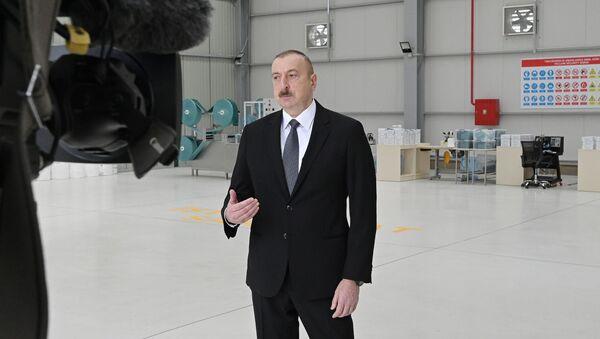 Президент Ильхам Алиев в Сумгайытском химическом промышленном парке - Sputnik Азербайджан