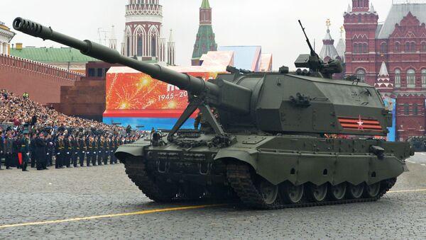 Самоходная артиллерийская установка Коалиция-СВ на генеральной репетиции военного парада на Красной площади - Sputnik Азербайджан