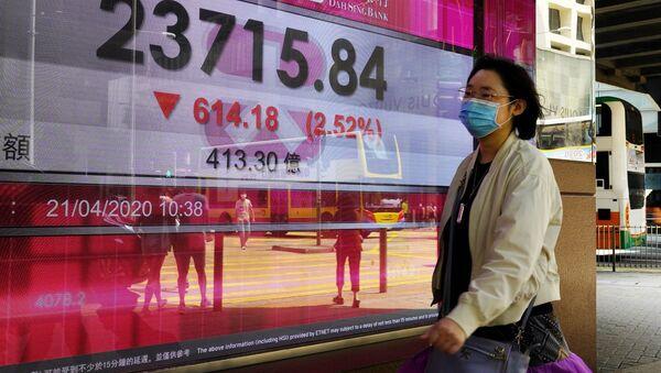 Индекс Гонконгской фондовой биржи на экране, фото из архива - Sputnik Азербайджан