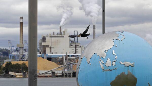 Птица взлетает со скульптуры земного шара в на фоне бумажной фабрики WestRock, фото из архива - Sputnik Azərbaycan