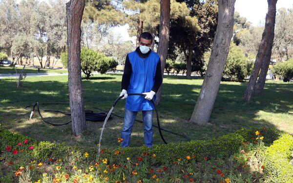 Житель столицы поливает траву в парке - Sputnik Азербайджан
