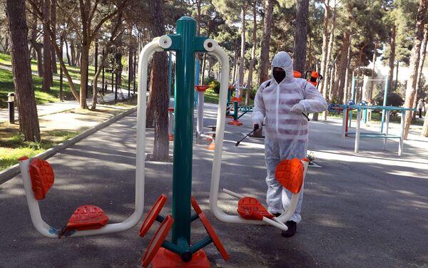 Мужчина проводит дезинфекционные работы в парке в Баку - Sputnik Азербайджан