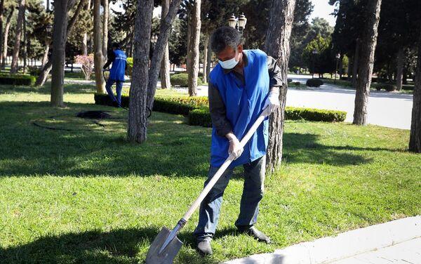 Мужчина работает в парке в Баку - Sputnik Азербайджан