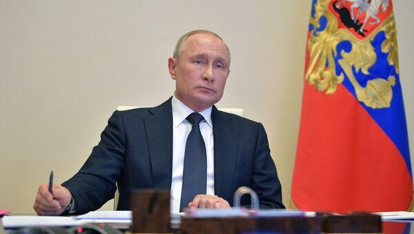 Президент РФ Владимир Путин проводит в режиме видеоконференции совещание - Sputnik Azərbaycan