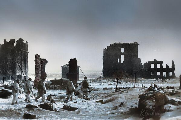 Центр города Сталинграда после освобождения от немецко-фашистских захватчиков - Sputnik Азербайджан