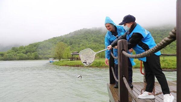 Выпуск мальков форели в озеро Нохургышлаг - Sputnik Азербайджан