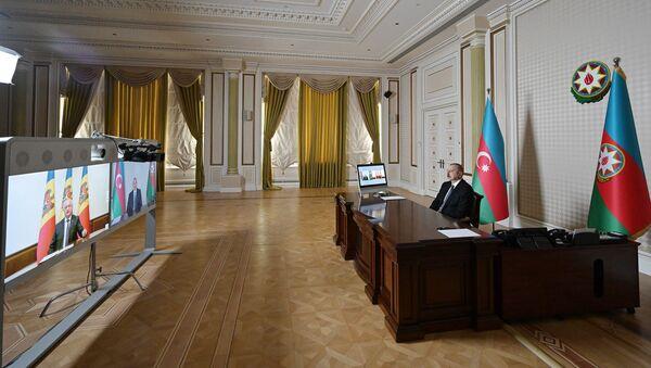 İlham Əliyevlə Moldova Prezidenti İqor Dodon arasında videokonfrans formatında görüş keçirilib - Sputnik Азербайджан