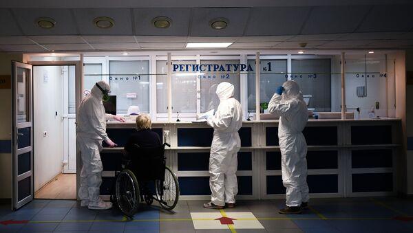 Госпиталь COVID-19 в Москве, фото из архива - Sputnik Azərbaycan