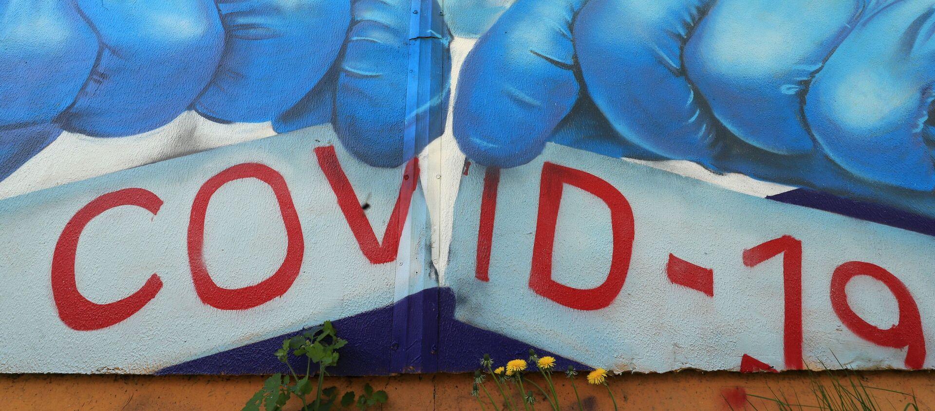 Граффити в поддержку медиков в борьбе с COVID-19 в Красногорске, фото из архива - Sputnik Азербайджан, 1920, 19.02.2021